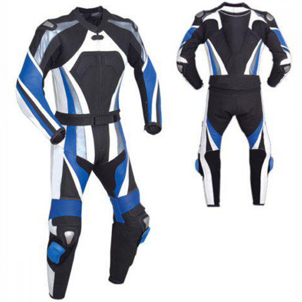 Men Black & Blue Motorbike Racing Leather Suits