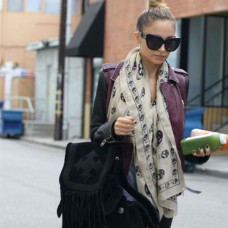 Nicole Richie Black & Purple Leather Jacket