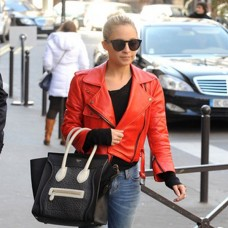 Nicole Richie Classic Red Leather Jacket