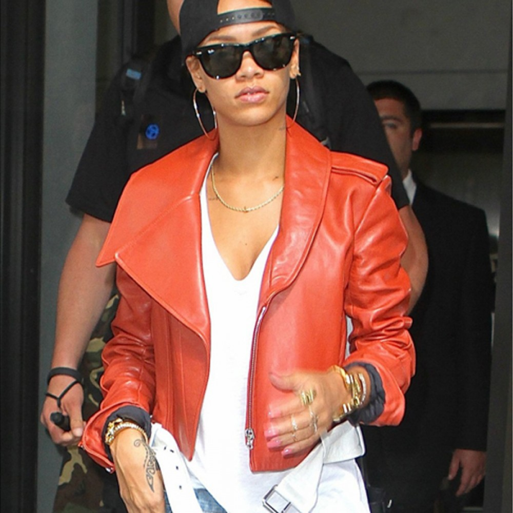 Rihanna Red Short Leather Jacket