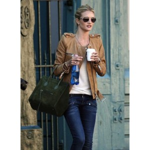 Roise Huntington Whiteley Brown Leather Jacket