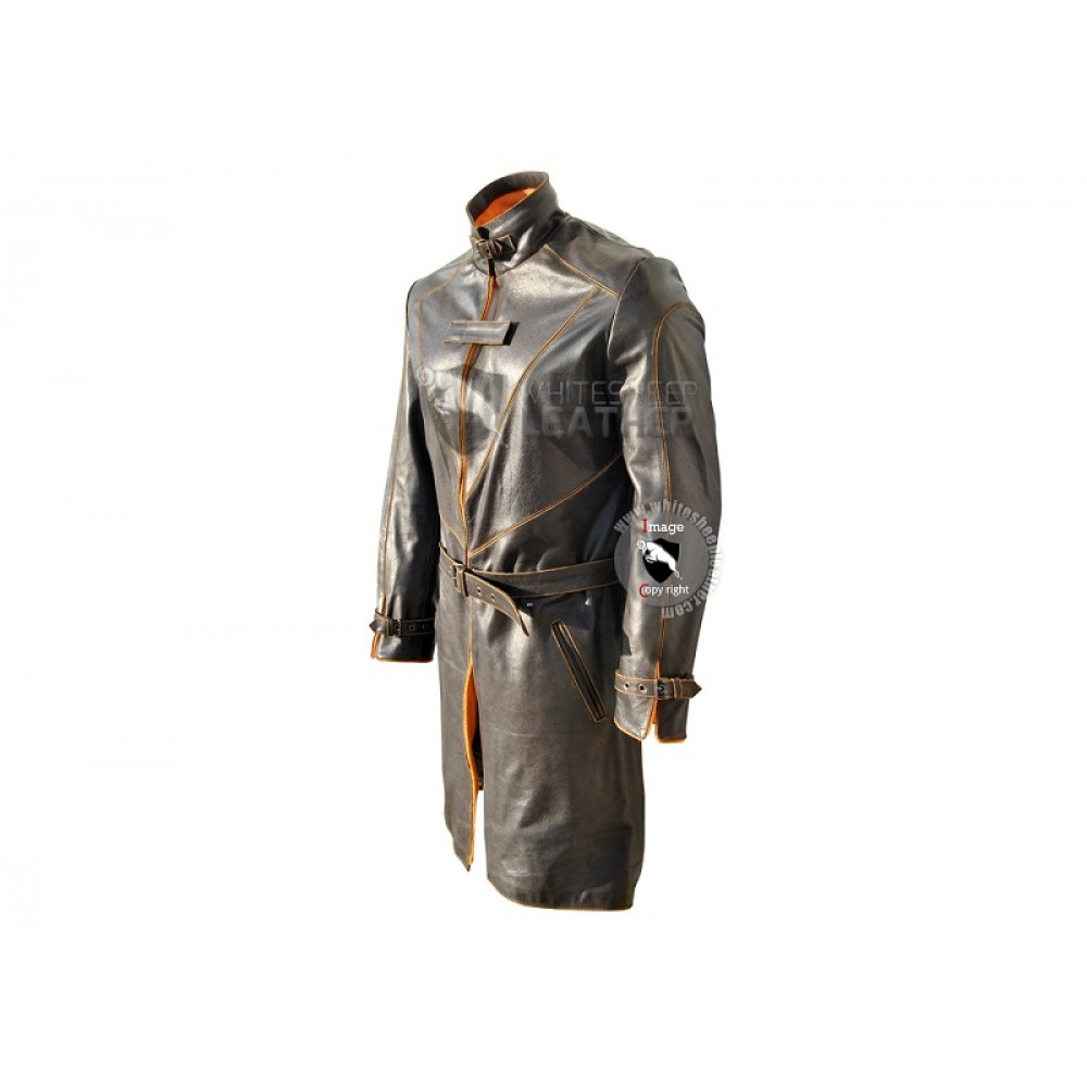 Leather jacket for dogs -  Watch Dogs Trench Coat Genuine Leather Jacket