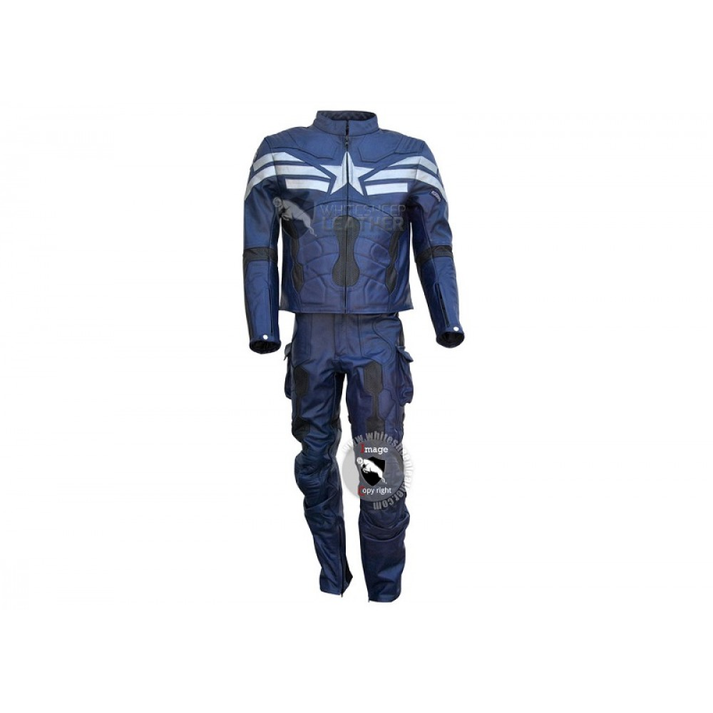 Captain America Muscle Jumpsuit Mens Leather Costume (Free Shipping )