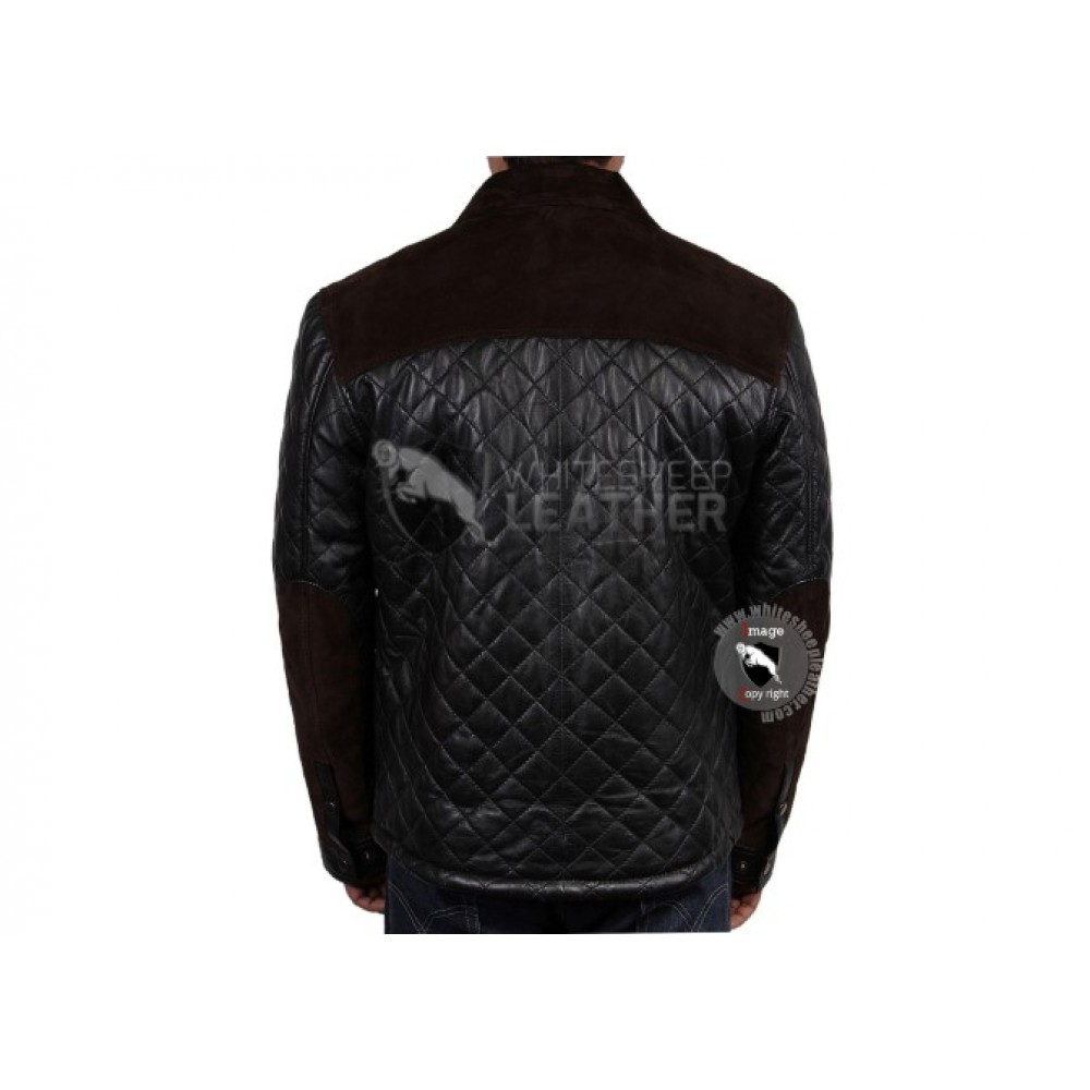 New Mens Handmade Black Quilted Slimfit Leather Jacket (Free Shipping)