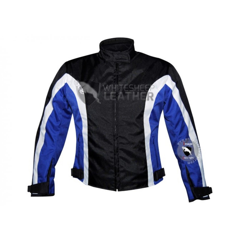 Textile Motorbike Men Black With Blue Contrast cordura Jackets (Free Shipping)