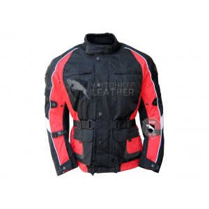 Textile Motorbike Men Black And Red Leather Jackets
