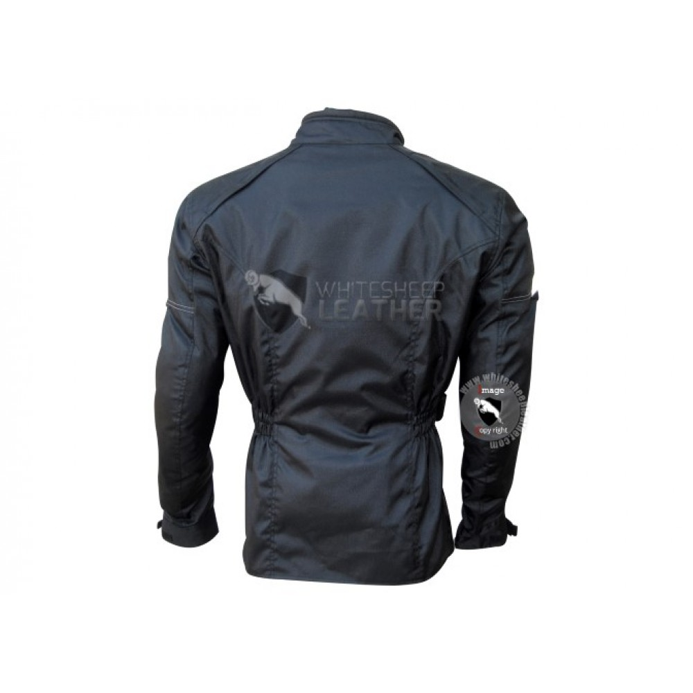 Mens Textile Slimfit Buttoned Leather Jacket (Free Shipping)