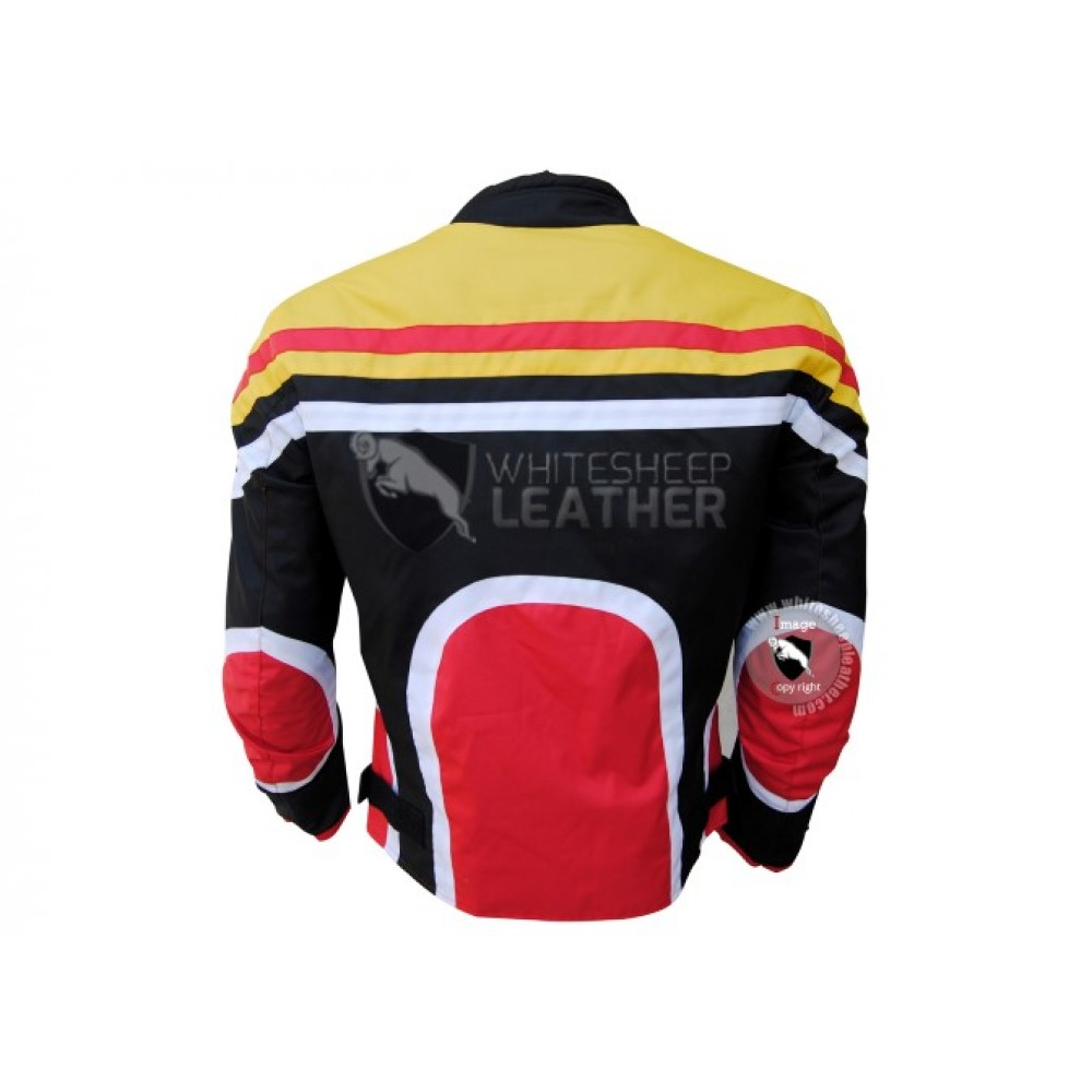 Textile Motorbike Men Black With Multi Color Contrast cordura Jackets (Free Shipping)
