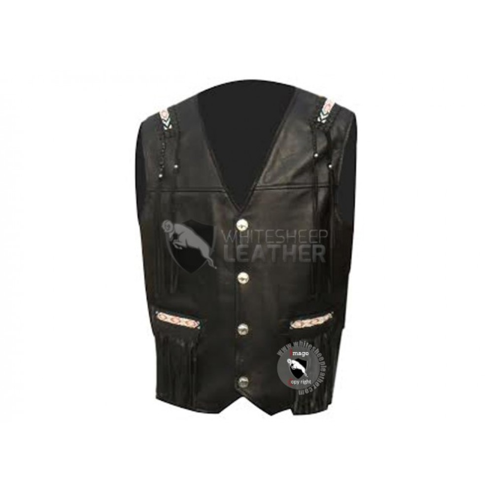 Black Western Cowboy Fashion Biker Leather Vest Jacket ( Free Shipping )
