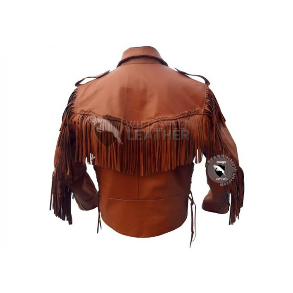 Brown Western Cowboy Fashion Leather Jacket ( Free Shipping)