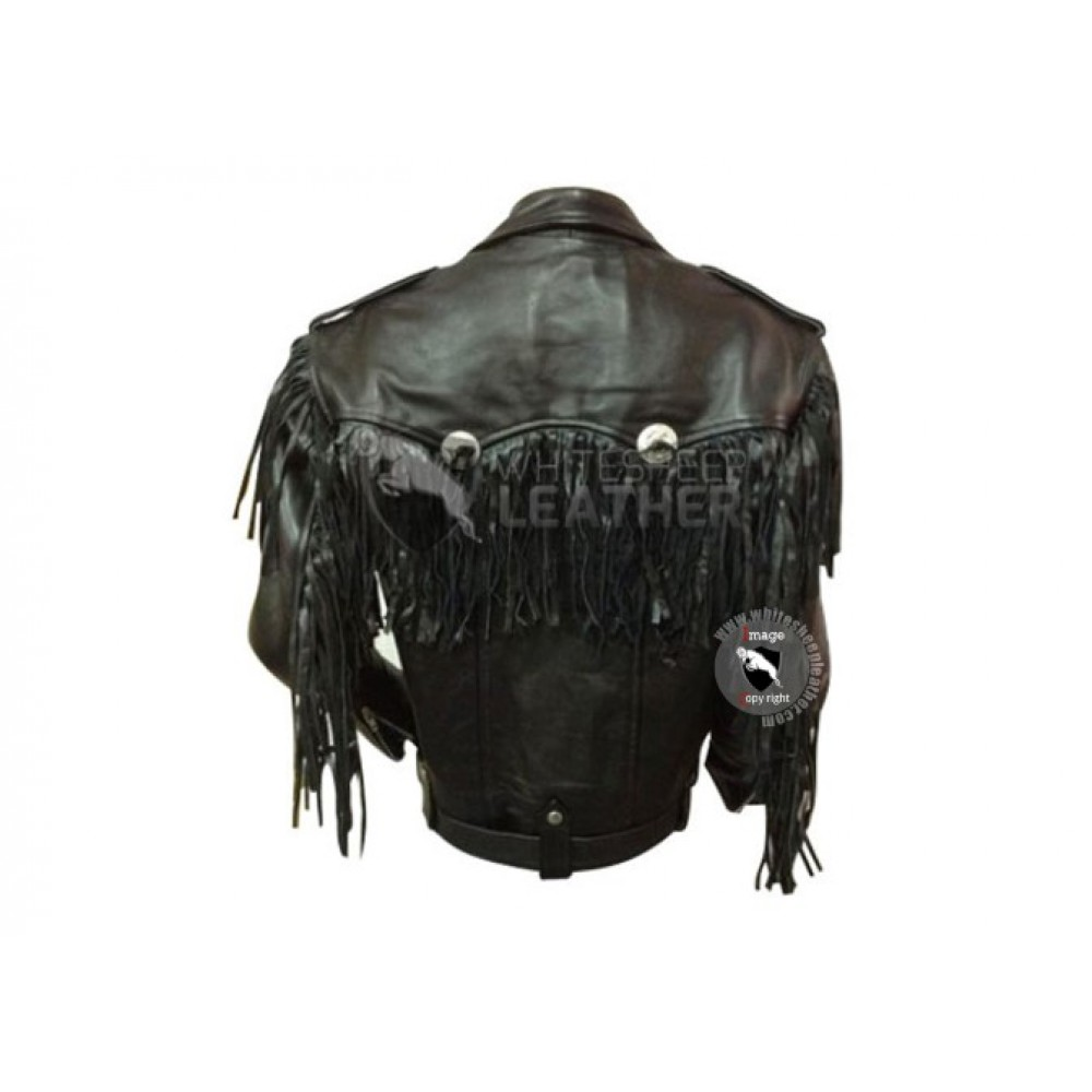 Black Western Style Motorcycle Safety Leather Jacket ( Free shipping)