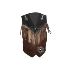 Mens Bread Fringe Western Leather vest Jacket ( Free Shipping )
