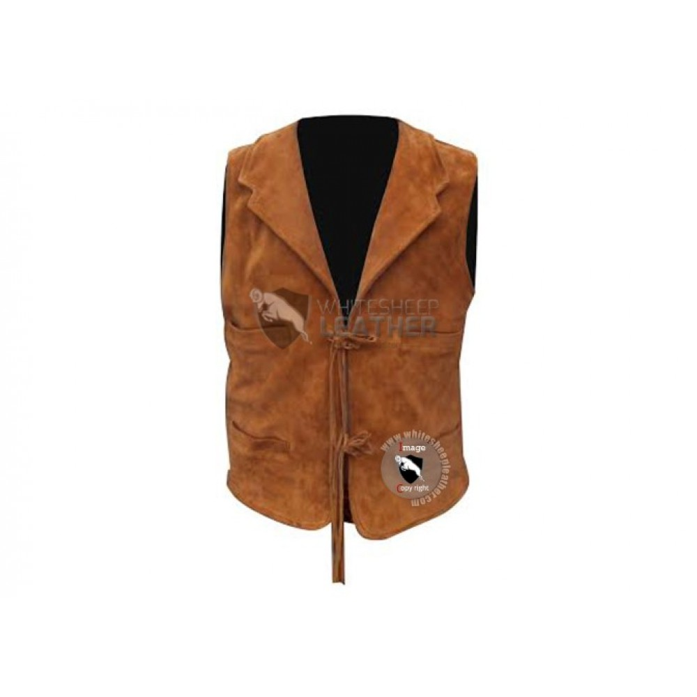 Mens Stylish Western Leather Vest Jacket (Free Shipping)