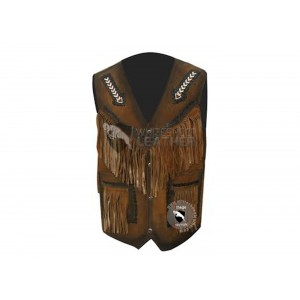Mens Stylish Western Style Leather vest Jacket (Free Shipping)