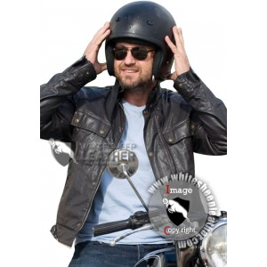 Gerard Butler Black Faux Leather Biker Jacket