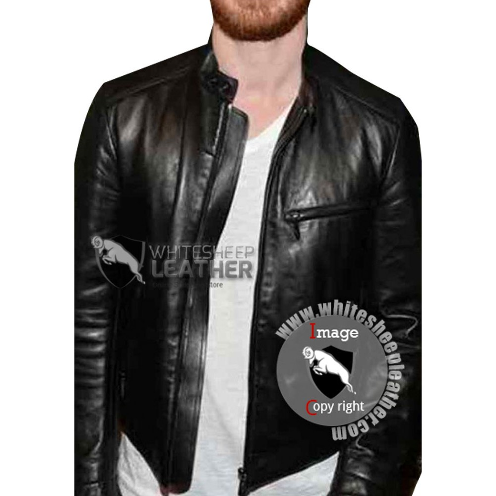 Golden Globes Michael Fassbender Leather Jacket
