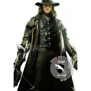 Hugh Jackman Gabriel Van Helsing Leather Trench Coat (Free shipping)