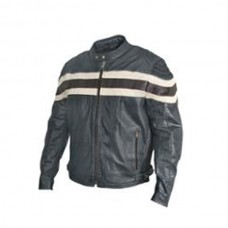 Men Classical Stripe Motorbike Leather Jackets