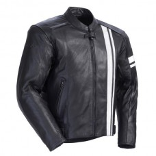 Men Black & White Stripe Motorbike Leather Jacket