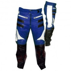 Designer Blue And Black Motorbike Leather Trousers