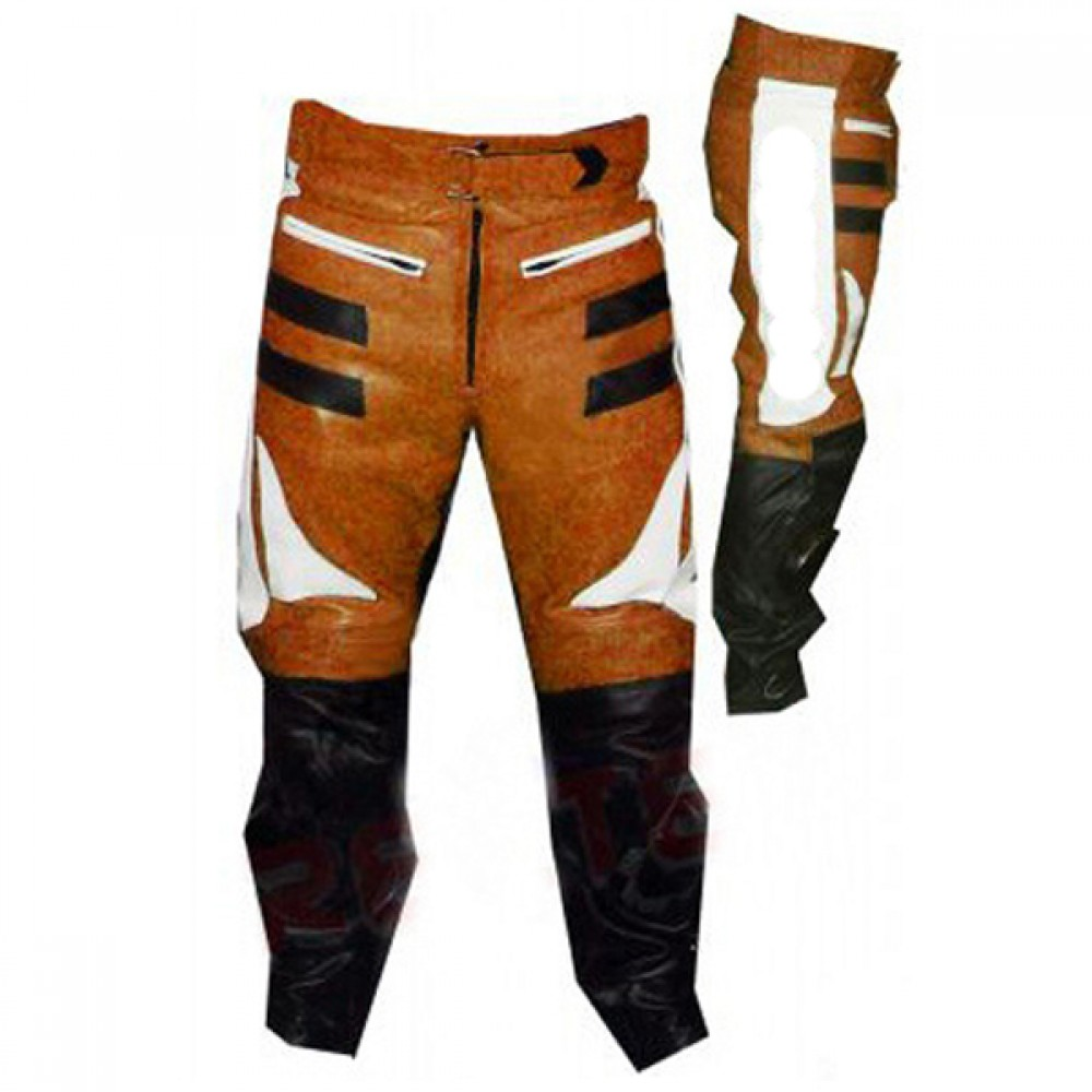 Designer Orange And Black Motorbike Leather Trousers