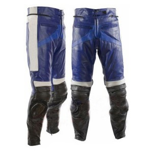 Casual Blue & Black Motorbike Leather Trousers