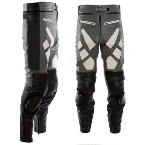 Designer Grey And Black Motorbike Leather Trousers