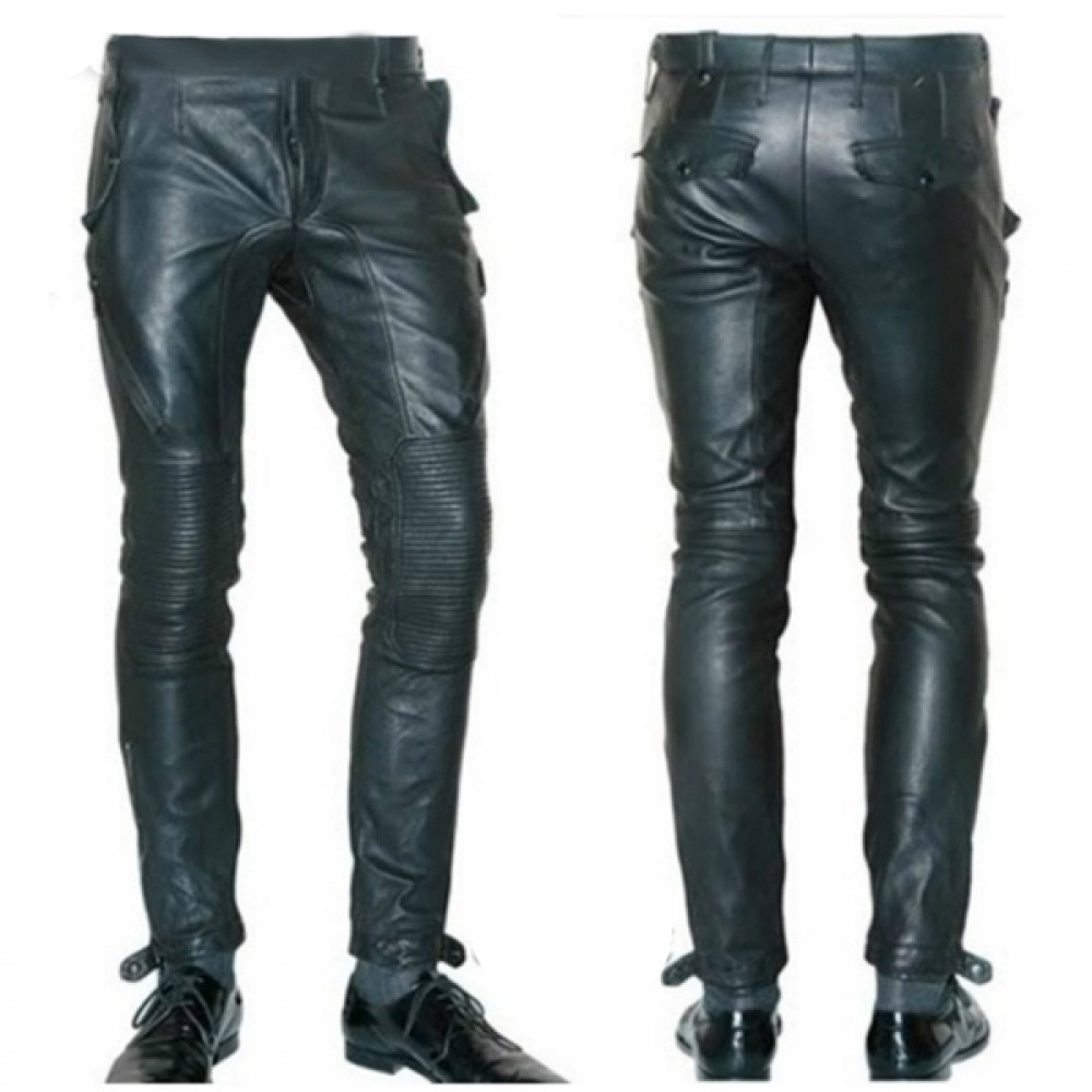 Casual Black Motorbike Leather Trousers