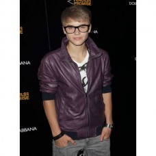 Justin Bieber biker Style Purple Leather Jacket