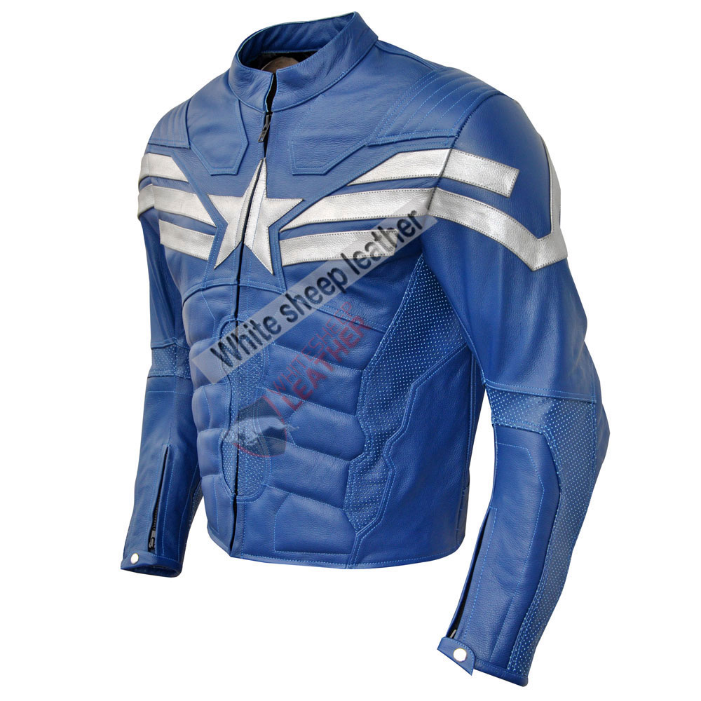 Captain America Blue Muscle Jumpsuit Real leather Costume (Free Shipping )