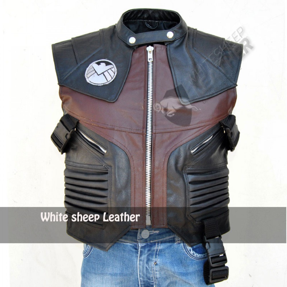 Hawkeye Vest Leather The Avengers Jeremy FAUX Leather Jacket.