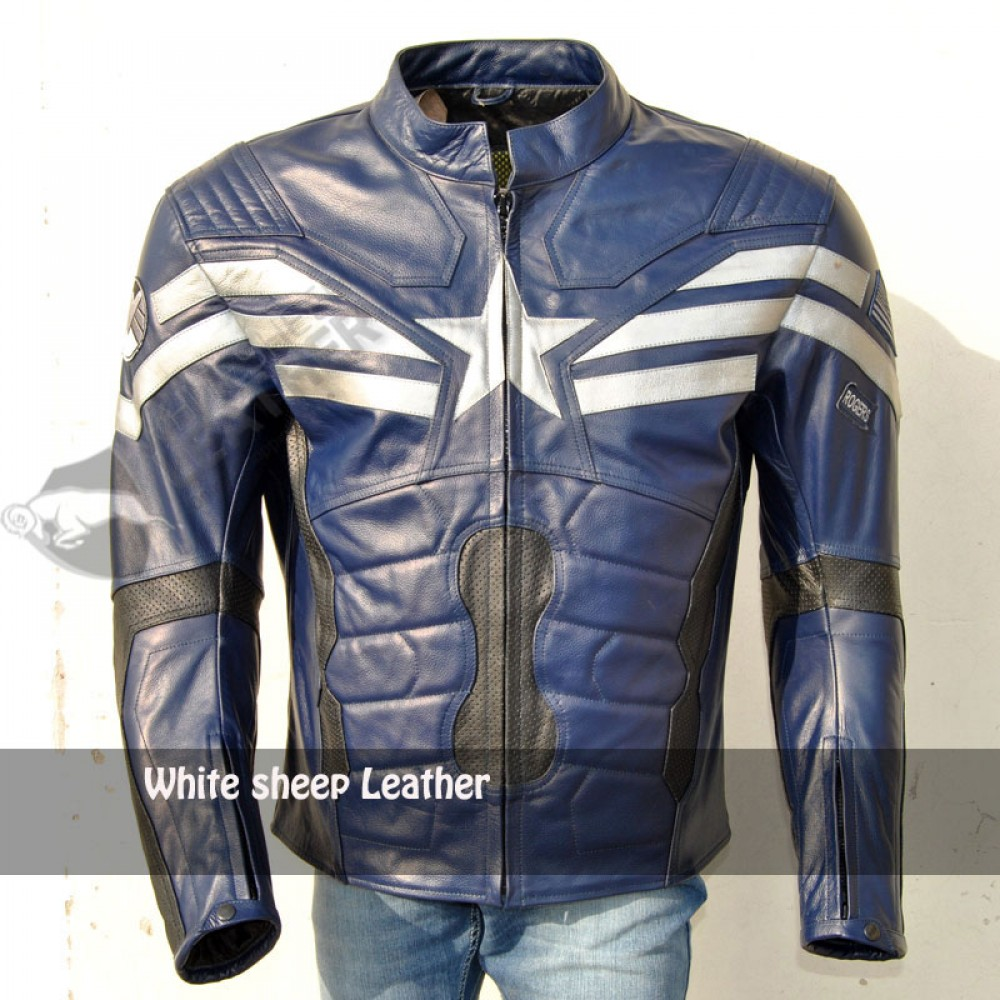 Captain America Stylish Blue Motorbike Leather Jacket