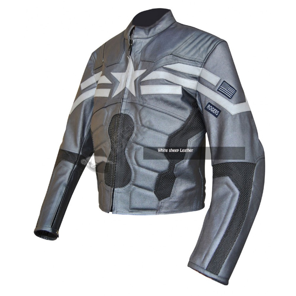 Captain America Gray Leather Jacket