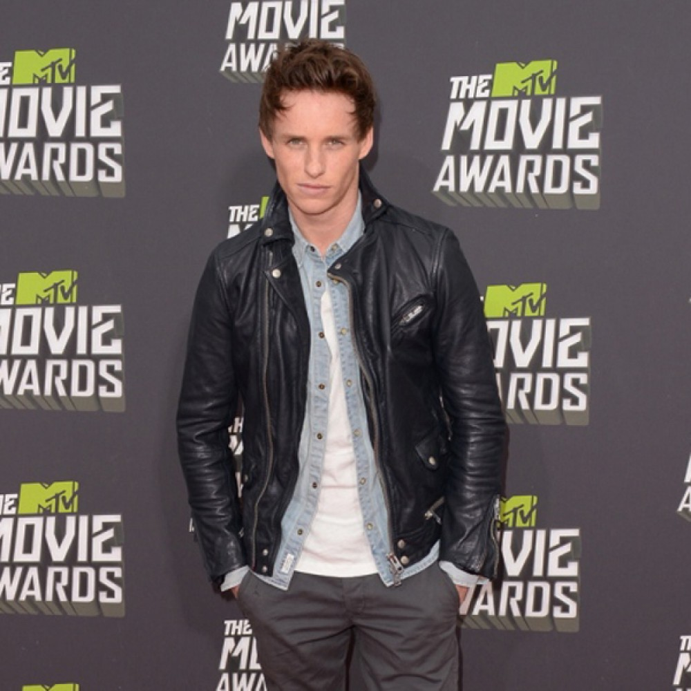 Eddie Redmayne Black Leather Jacket