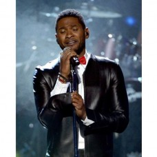 Usher Collar Less Rock Hall Leather Jacket