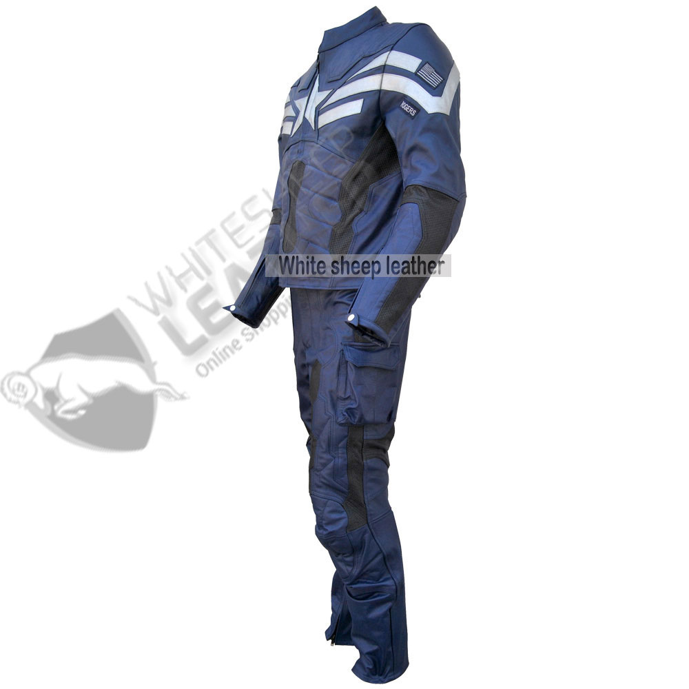 Captain America Muscle Jumpsuit Mens Real Leather Costume (Free Shipping )