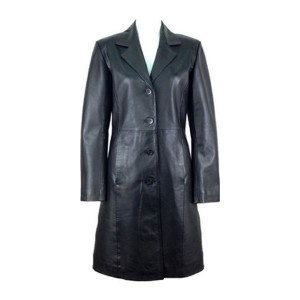 Women Black Long Leather Coat