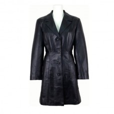 Ladies Stylish Black Soft Leather Coat