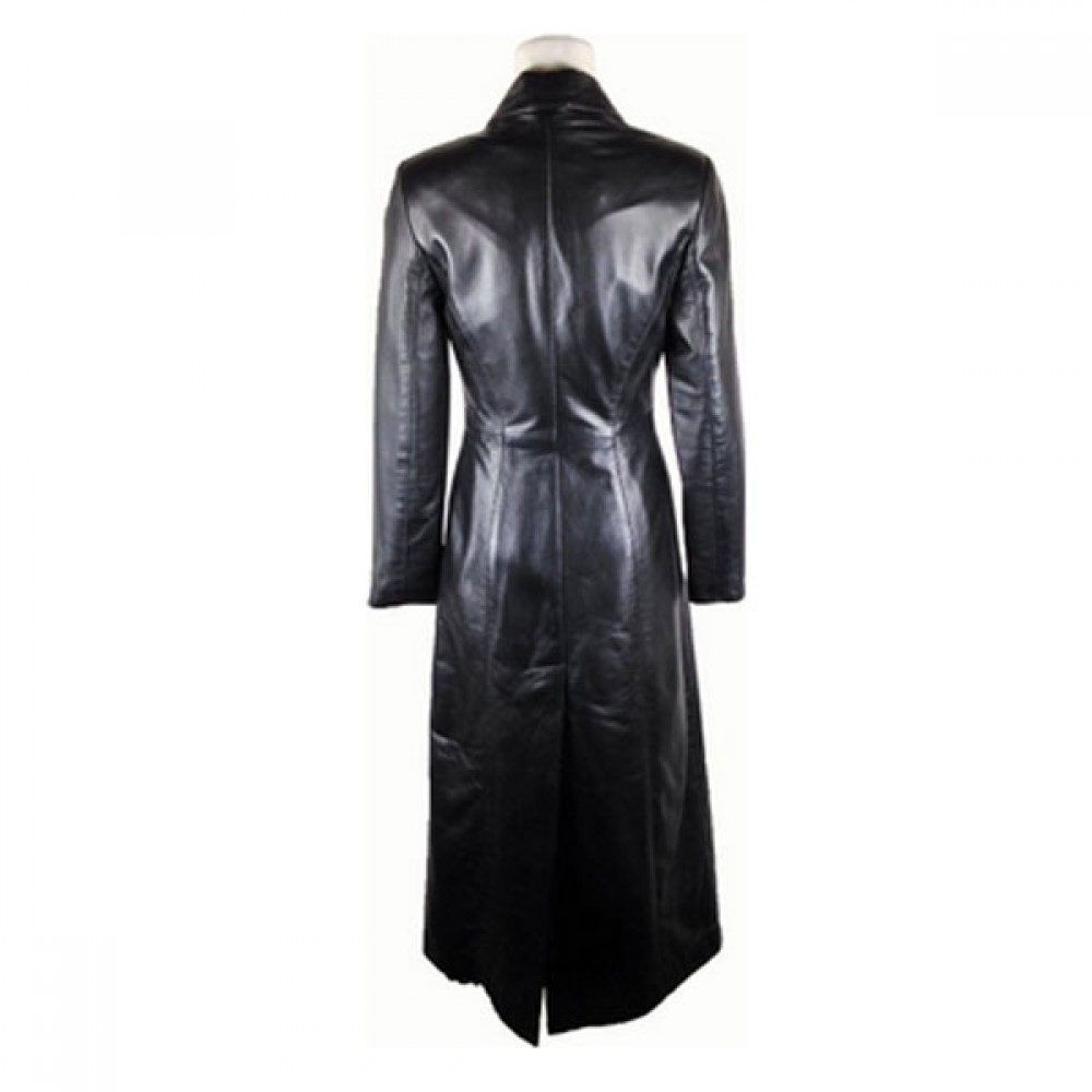 Women Black Full Lenght Leather Coat