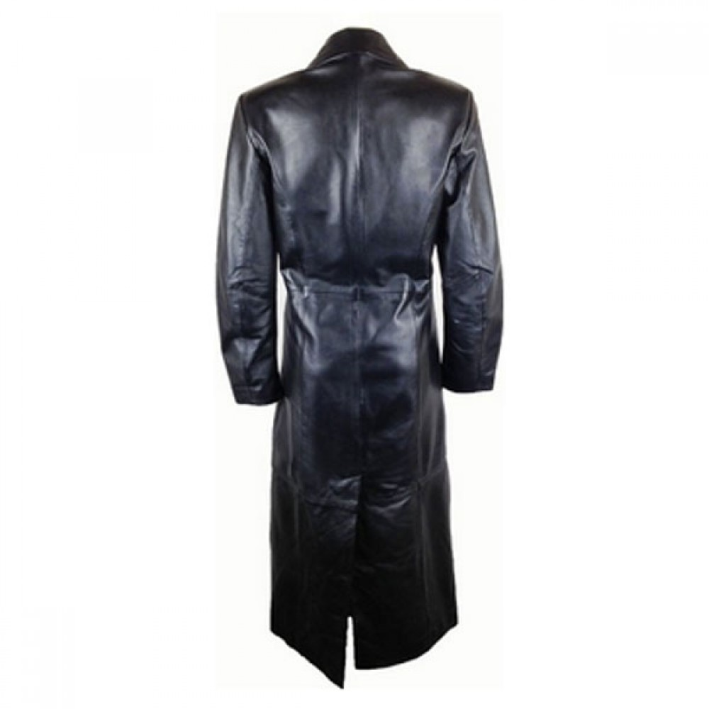 Designer Women Four Front Button Leather Coat