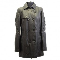 Designer Ladies Knee Lenght Black Leather Coat