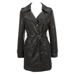 Women Black Belted Leather Coat