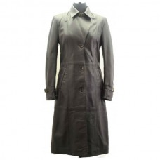 Women Classic Full Lenght Leather Coat
