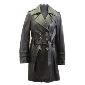 Women Black Double Breast Leather Coat