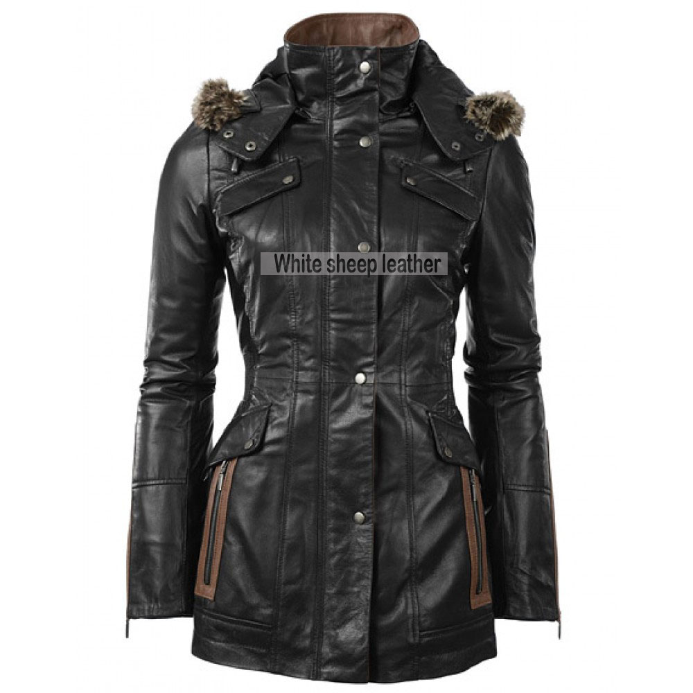 Women Four Flap Front Pockets Leather Coat
