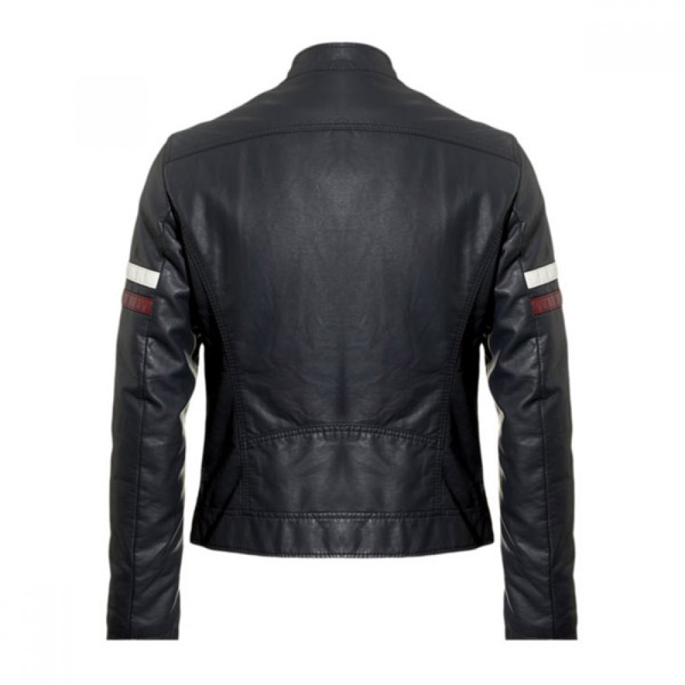 Designer Men Black / White Stripe Leather Jacket