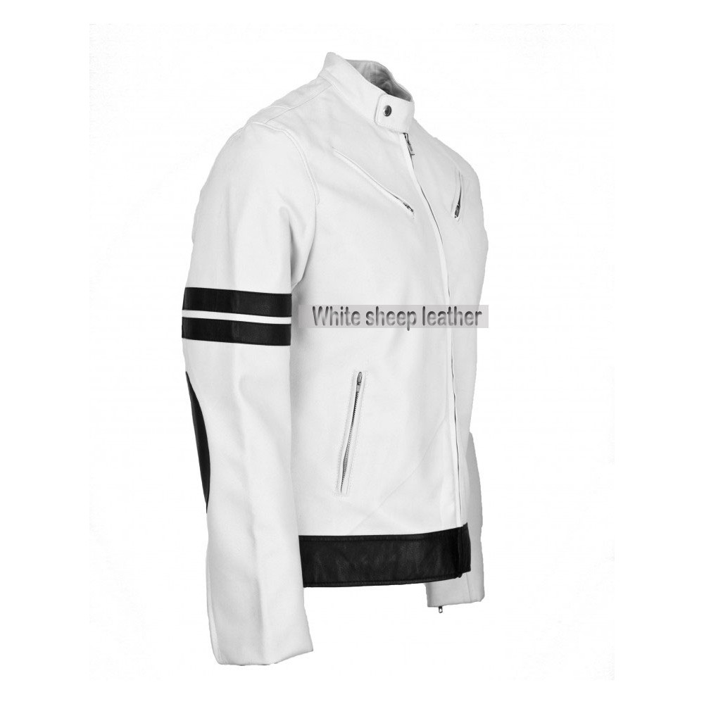 Men's White/Black Stripe Biker Leather Jacket