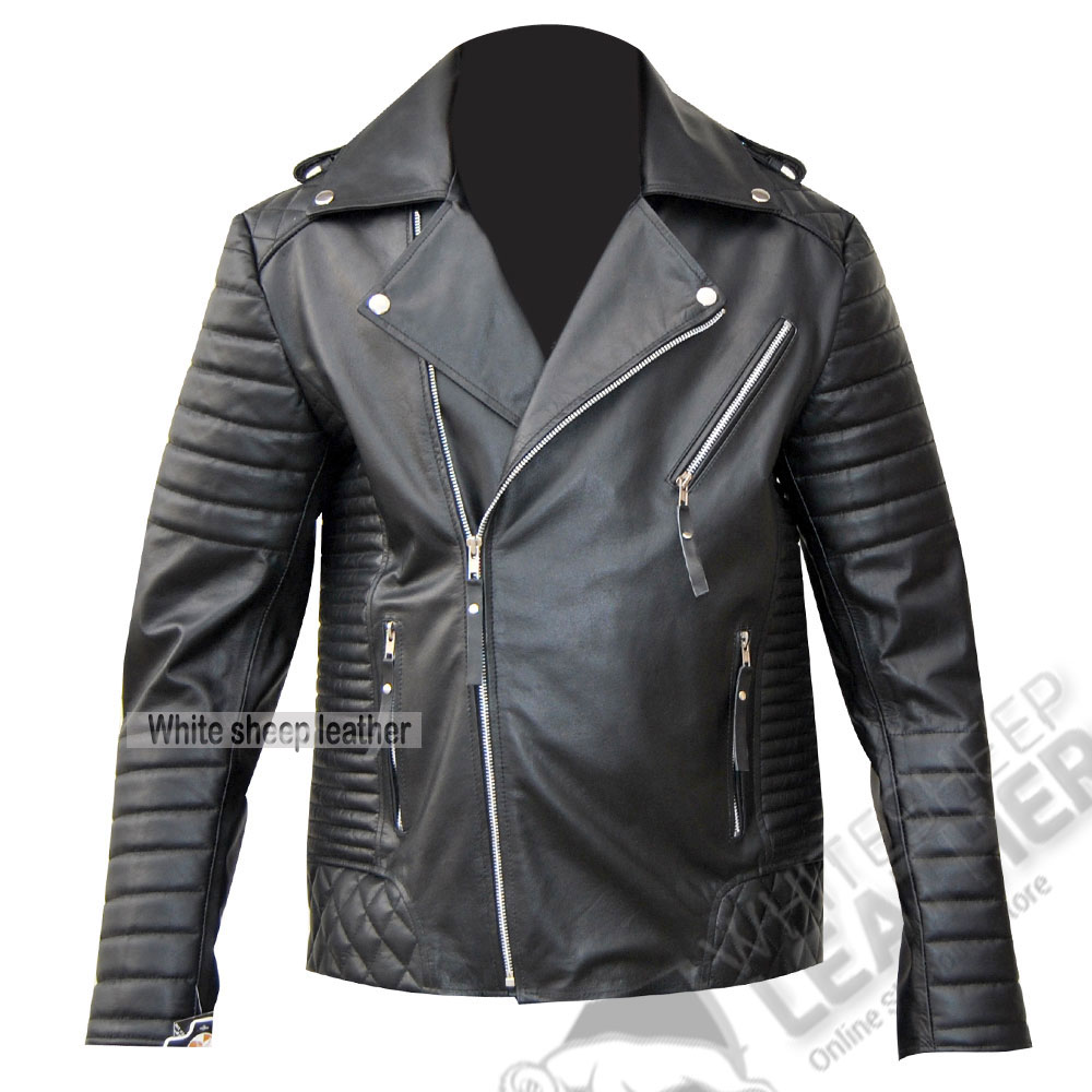 Men's Brando Biker Style Leather Fashion Jacket