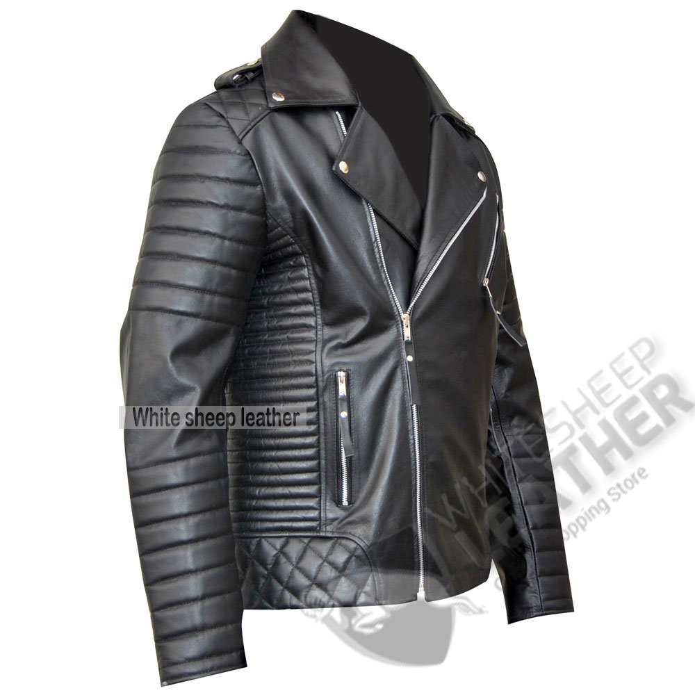 Mens Biker Leather Jacket - Jacket