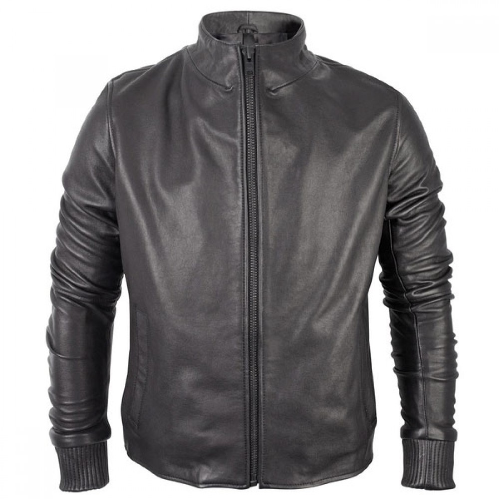 Trendy Black Biker Leather Jacket